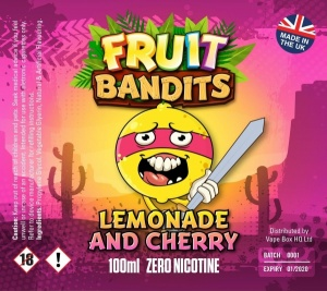 Fruit Bandits- Lemonade & Cherry - 100ml Short Fill  - 0mg