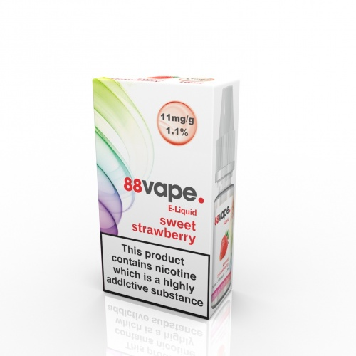 88 Vape - Sweet Strawberry Flavour E-Liquid Refill Bottle 10ml